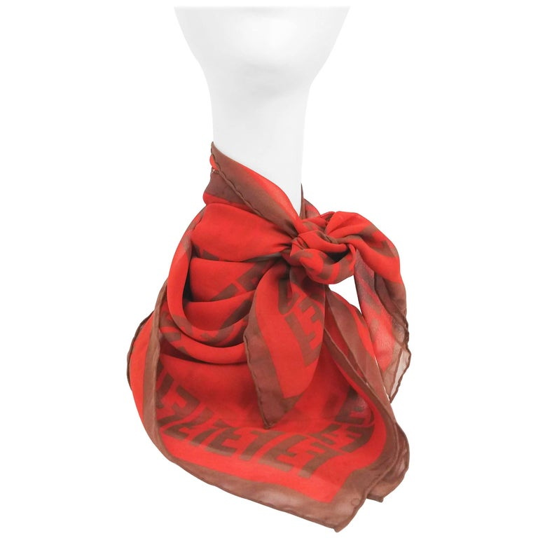 Fendi Silk Chiffon Printed Logo Scarf For Sale