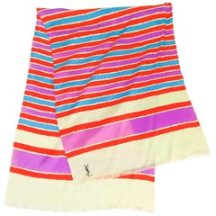 Yves Saint Laurent Striped Silk Print Scarf
