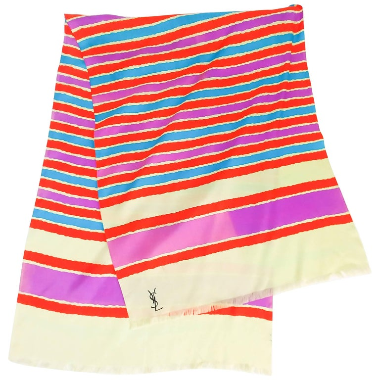Yves Saint Laurent Striped Silk Print Scarf