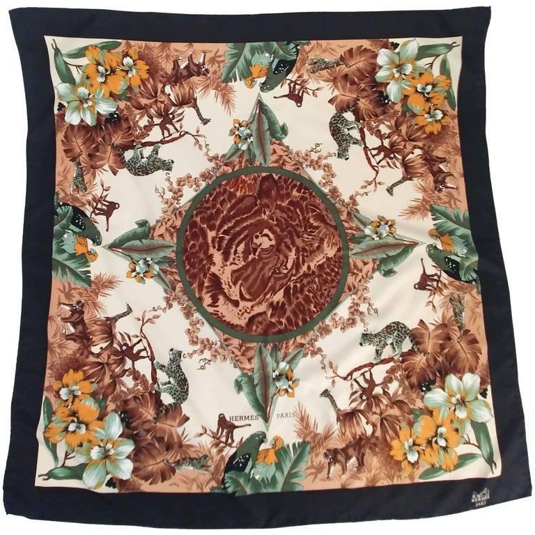 Hermes Tiger & Florals Circle of Life Silk Print Scarf