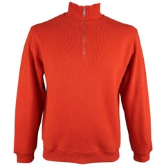 Loro Piana Men's Orange Ribbed Jersey Half Zip Mock Neck Pullover