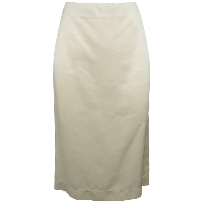 Ralph Lauren Collection Light Beige Silk Twill Pencil Skirt