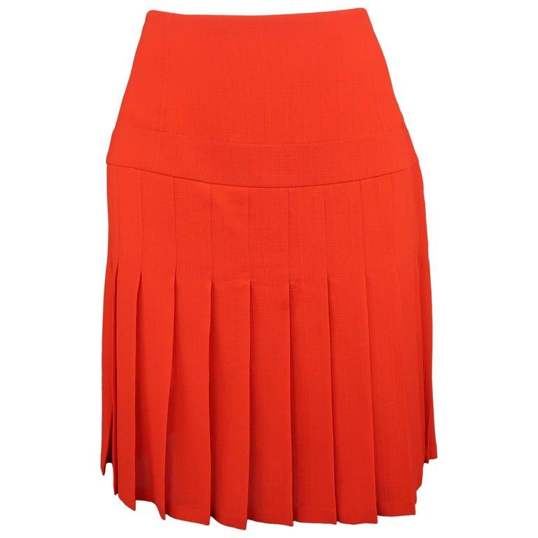 Valentino Orange Silk Crepe Pleated Skirt