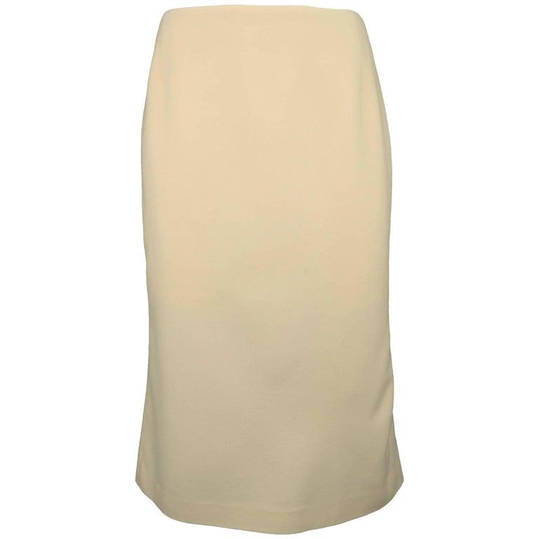Ralph Lauren Cream Wool and Cashmere Fishtail Pencil Skirt