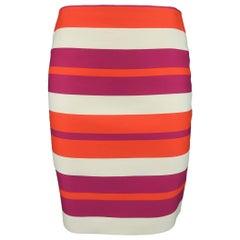 Celine Fuchsia Orange and Cream Striped Wool Mini Skirt