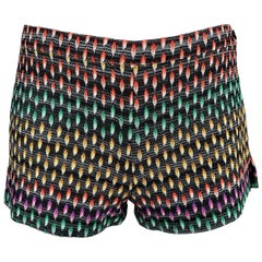 Missoni Black Rainbow Print Silk Knit Short Shorts