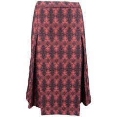 Miu Miu Burgundy Brocade Textured Virgin Wool Pleated Skirt