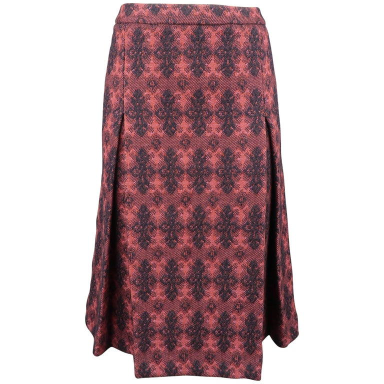Miu Miu Burgundy Brocade Textured Virgin Wool Pleated Skirt