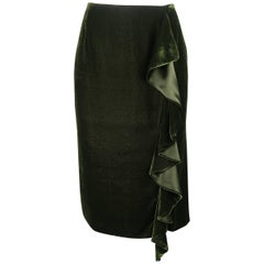 Ralph Lauren Dark Green Silk Blend Velvet Ruffle Skirt