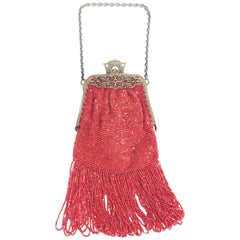 1920s Blood Orange Glass Bead Fringe Purse