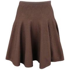 Alaia Size XS Brown Stretch Wool Heart Knit Ruffle Mini Skirt