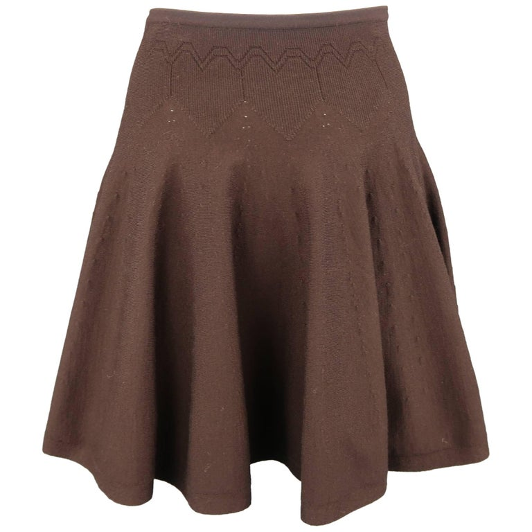 Alaia Size XS Brown Stretch Wool Heart Knit Ruffle Mini Skirt For Sale