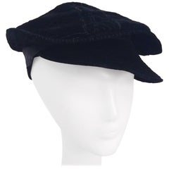 Black Striped Velvet Cap, 1930s
