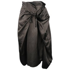 Dries van Noten Black Draped Taffeta Wrap Tied A line Skirt