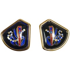 MINT. Vintage Hermes black cloisonne enamel golden earrings with red fan design.