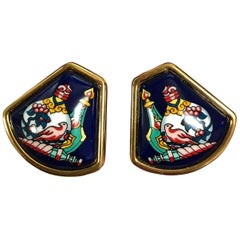 MINT. Vintage Hermes navy cloisonne, golden, and muticolor fan shape earrings.