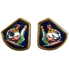 MINT. Vintage Hermes navy cloisonne, golden, and muticolor fan shape earrings.