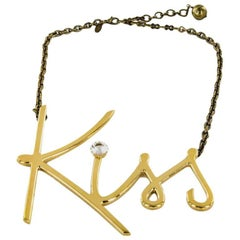 LANVIN Necklace 'KISS' with a Brilliant on the 'I' in Gilded Metal