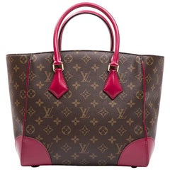 LOUIS VUITTON 'Phénix' Bag in Brown Monogram Coated Canvas and Fuchsia Leather