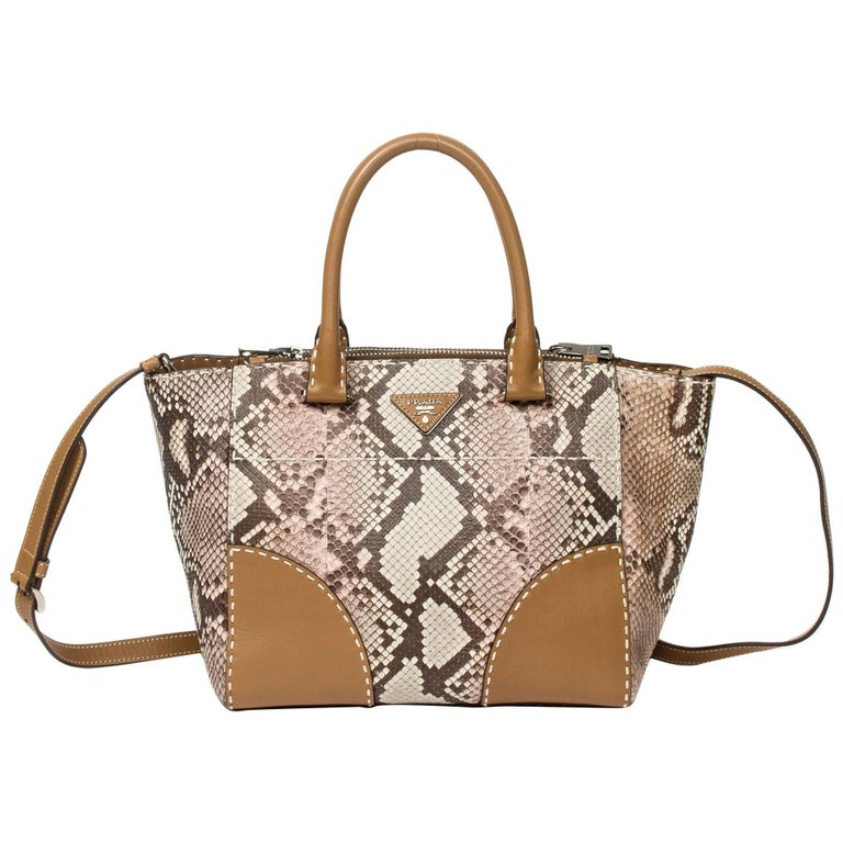 Prada Tote in Beige/Ivory/Brown python leather