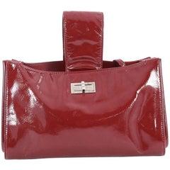 Chanel Convertible Mademoiselle Lock Clutch Patent Medium