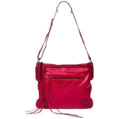 Balenciaga Men's Day Messenger in Dark Red calf leather