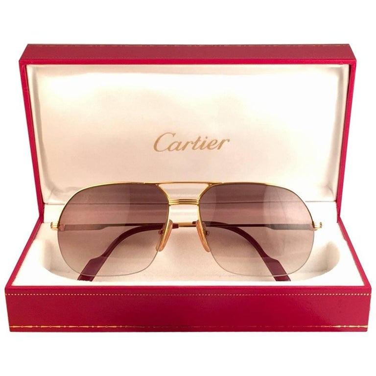 New Cartier Tank Orsay Half Frame 58mm 18K Gold Plated Sunglasses France