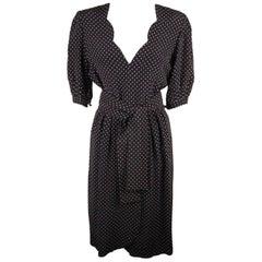 Andre Laug Vintage Black and White Silky Polka Dot Dress