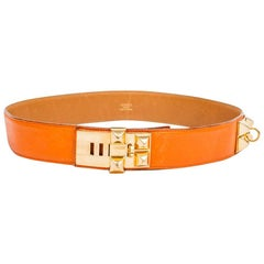 HERMES 'Médor' Vintage Belt in Orange Courchevel Leather Size 76