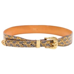 HERMES Collector Belt in Zebras Printed Leather Lined in Gold Leather Size 75FR