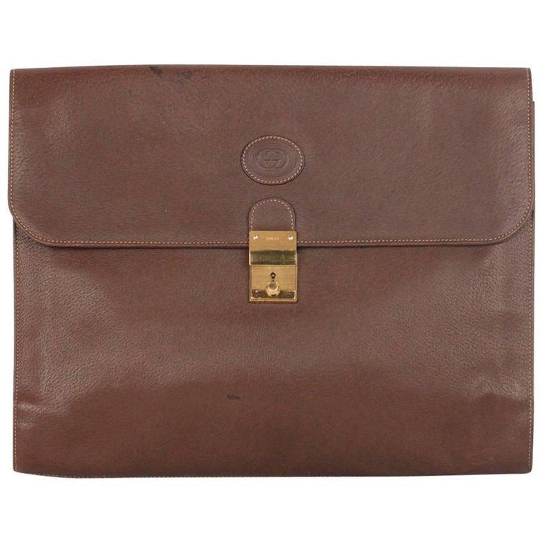 GUCCI Vintage Brown Leather PORTFOLIO Document Holder