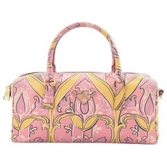 Prada Convertible Bauletto Bag Printed Saffiano Medium