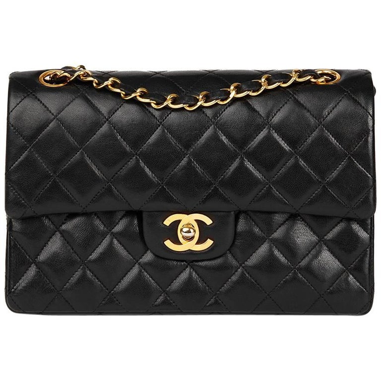 287b0baca7d2 1980's Chanel Black Quilted Lambskin Vintage Small Classic Double Flap Bag  For Sale