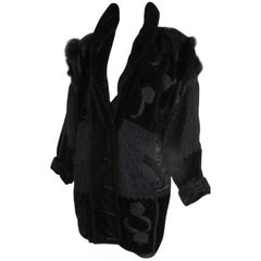 black velvet vintage jacket with fox fur details