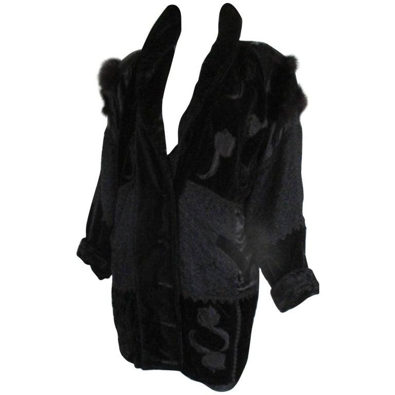 black velvet vintage jacket with fox fur details