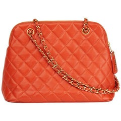 1990s Chanel Orange Quilted Caviar Leather Vintage Timeless Shoulder Bag