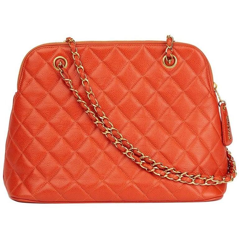 1990s Chanel Orange Quilted Caviar Leather Vintage Timeless Shoulder Bag
