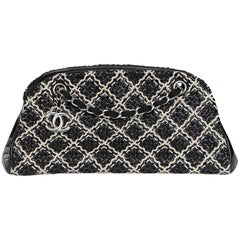 2011 Chanel Black Woven Patent Leather Stitch Just Mademoiselle Bowling Bag