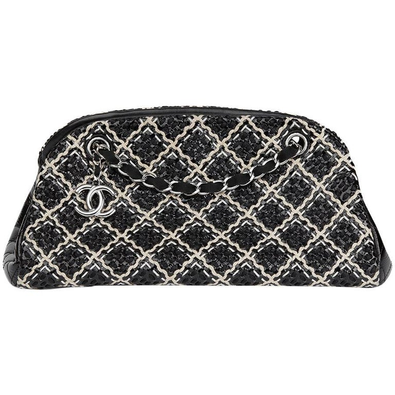 2011 Chanel Black Woven Patent Leather Stitch Just Mademoiselle Bowling Bag For Sale