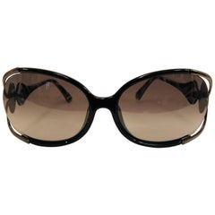 Extravagant Emilio Pucci Black Rim Frame w/ Pewter Tone Side & Pucci Print Arms