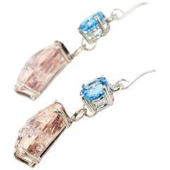 3.5 Carats Blue Topaz swing 19.94 Carats Morganite Sterling Silver Hook Earrings