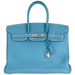 2006 Hermes Blue Jean Togo Leather 35cm Birkin Bag