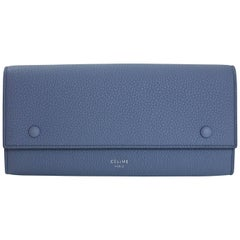 Celine Medium Blue Drummed Leather Large Multifunction Flap Wallet with Tag