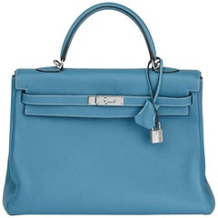 2008 Hermes Blue Jean Togo Leather Kelly 35cm Retourne Bag