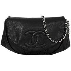 Chanel Black Caviar Half Moon Wallet On Chain WOC Croossody Bag