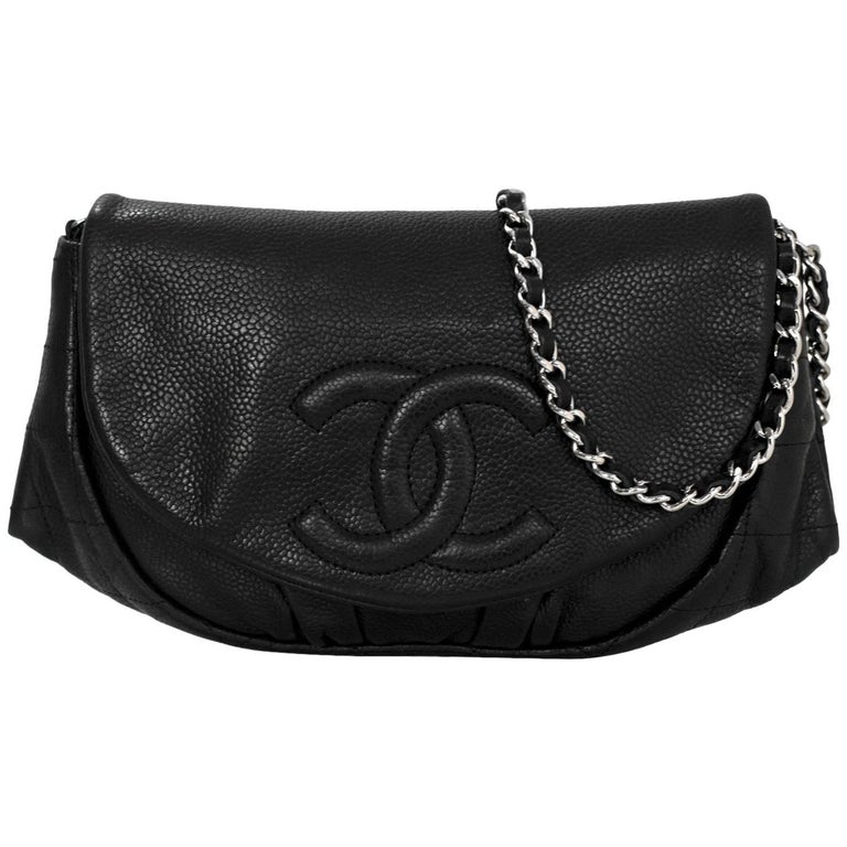 Chanel Black Caviar Half Moon Wallet On Chain WOC Croossody Bag For Sale
