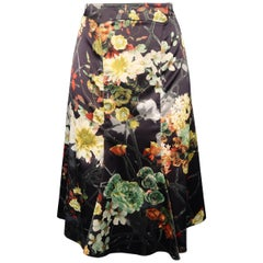 Just Cavalli Charcoal Multicolor Floral Print Satin Flare Skirt