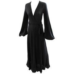 Ossie Clark for Quorum Black Cuddle Maxi Open Back Moss Crepe Wrap Dress UK 10