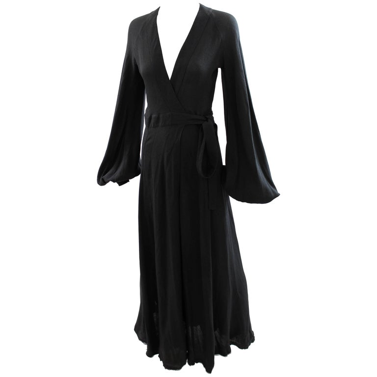 Ossie Clark for Quorum Black Cuddle Maxi Open Back Moss Crepe Wrap Dress