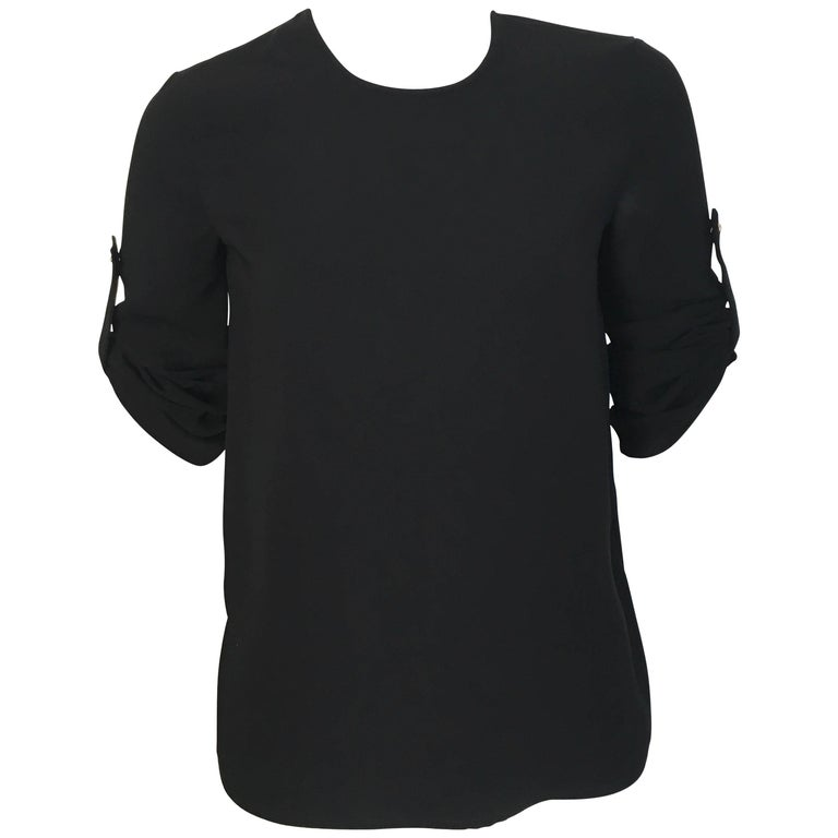 Versace Black Wool Long Sleeve Blouse Size 4. For Sale